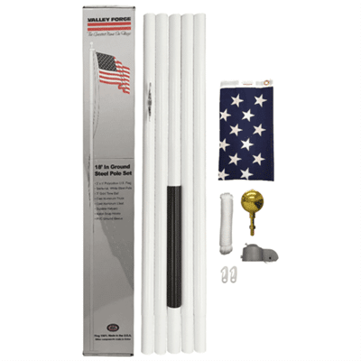 Valley Forge White Steel Flagpole Kit 18'