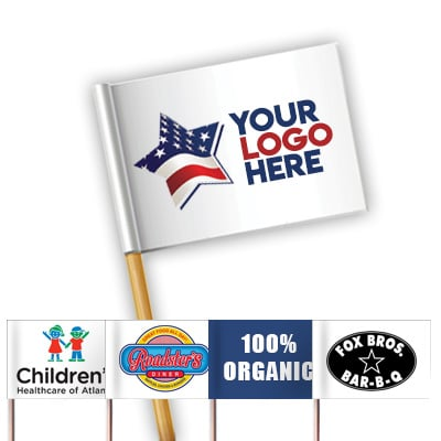 Custom toothpick flag logo with examples